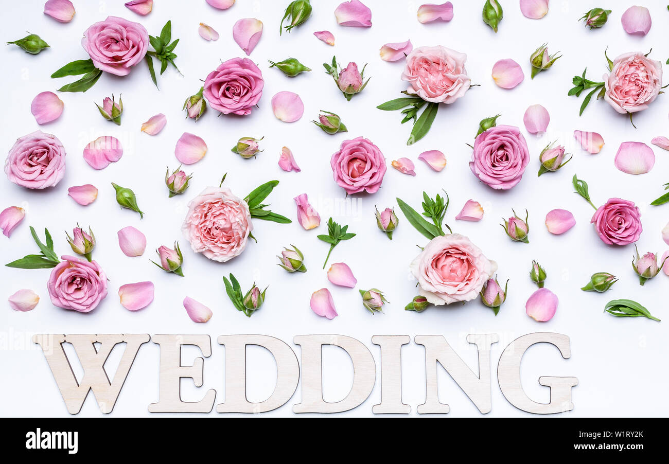 Floral Wedding Pattern On A White Background Petals