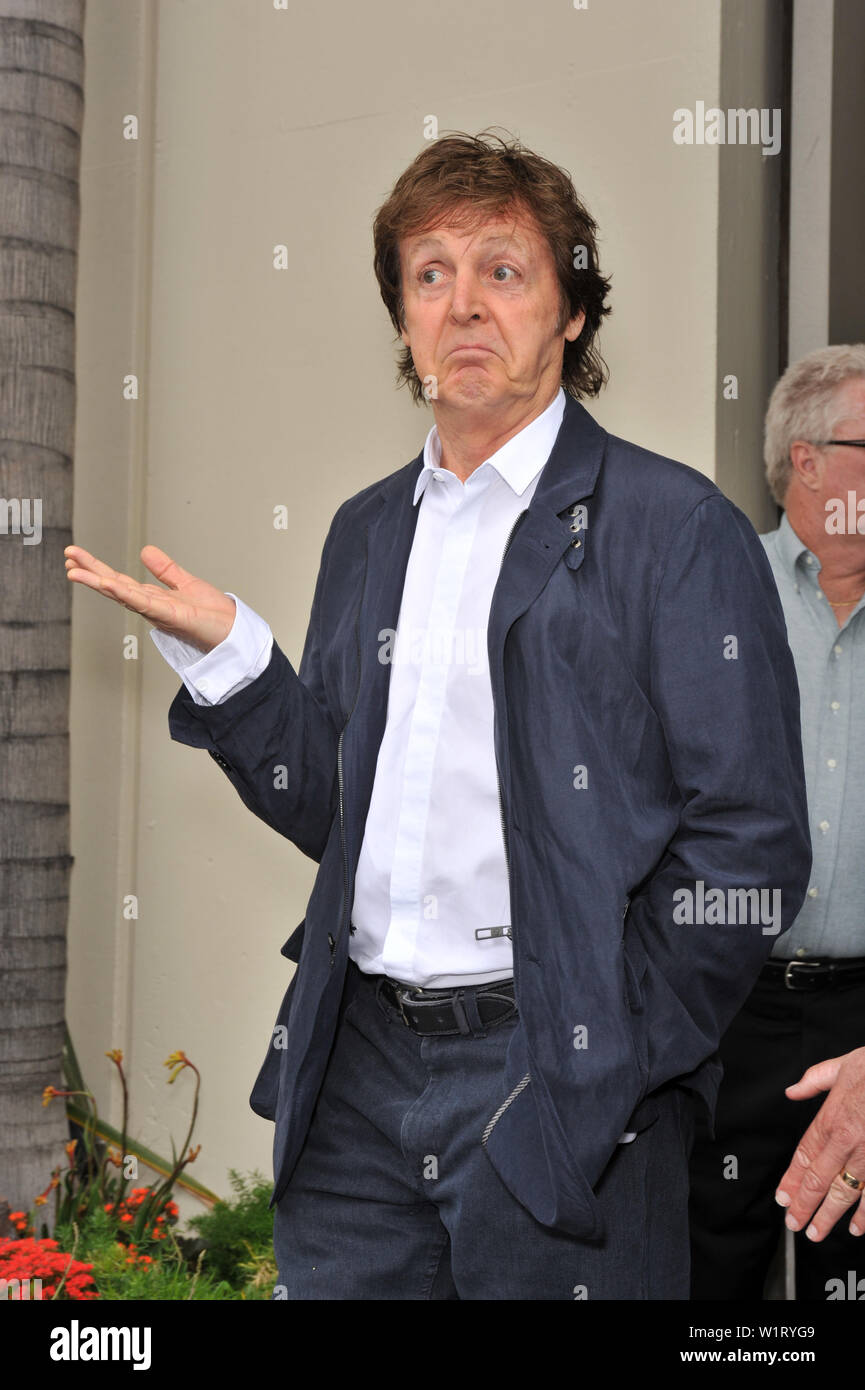 LOS ANGELES, CA. April 14, 2009: Paul McCartney at Hollywood Walk of Fame star ceremony honoring the late George Harrison. The star was placed outside the famous Capital Records building in Hollywood. © 2009 Paul Smith / Featureflash - Stock Image
