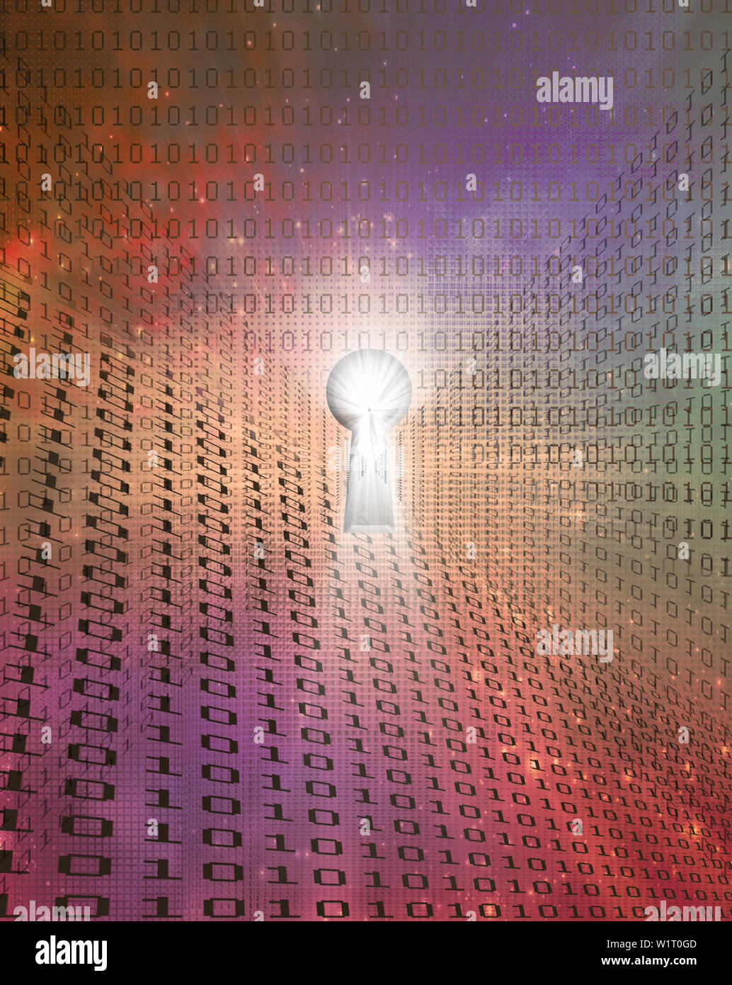 Modern art. Keyhole and binary code on a background - Stock Image