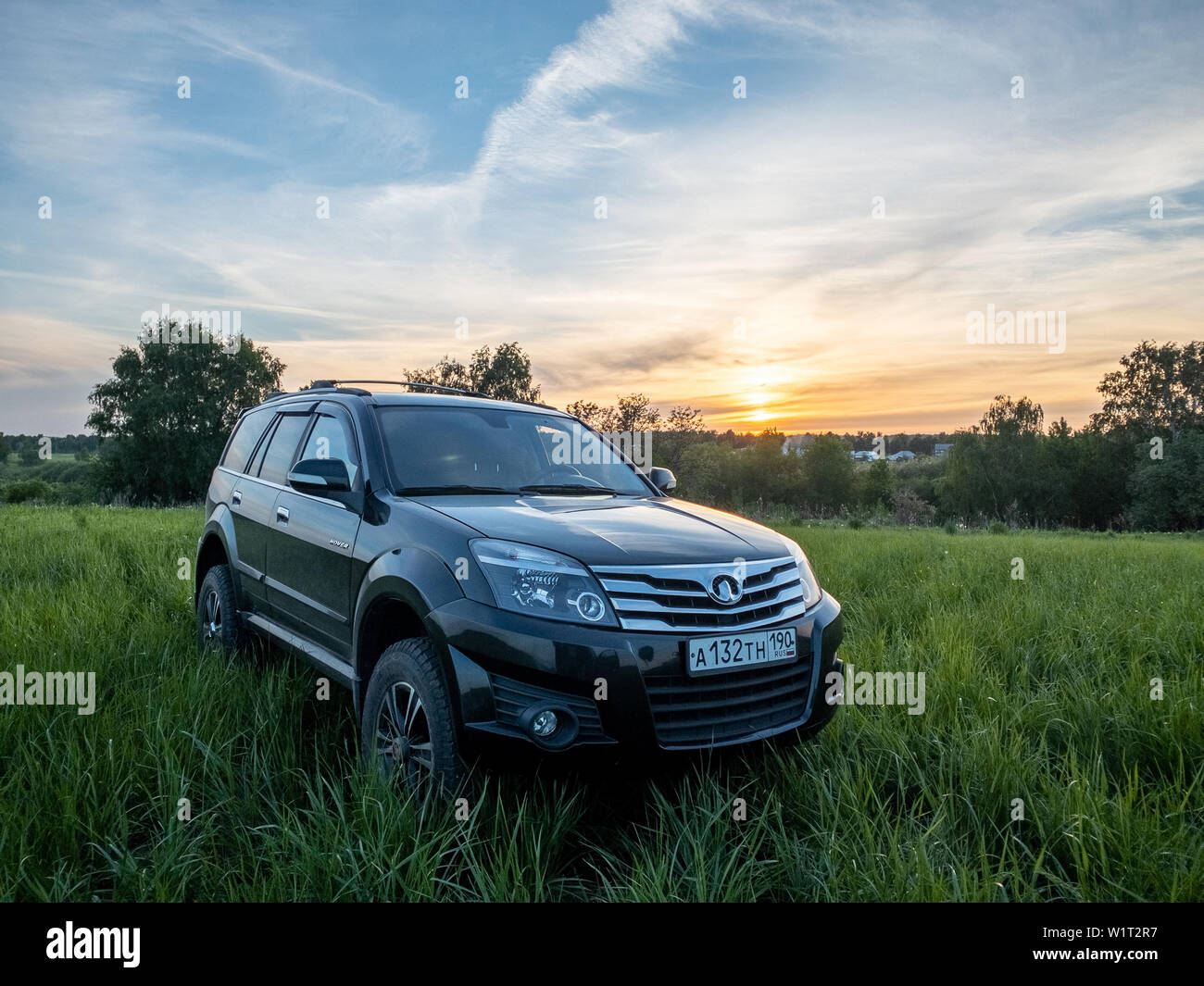 Moscow Russia May 24 2019 Black Chinese Suv Great Wall Hover H3 Kitajskij Vnedorozhnik Grejt Voll Hover 4x4 Offroad Off Road Stock Photo Alamy