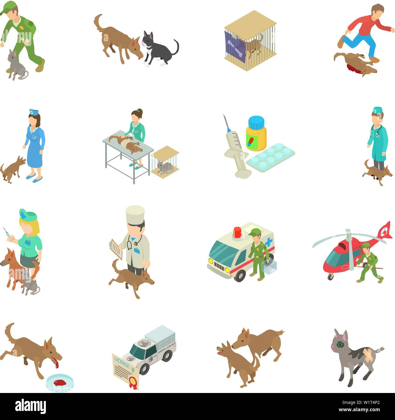 Treatment of animal icons set, isometric style - Stock Vector