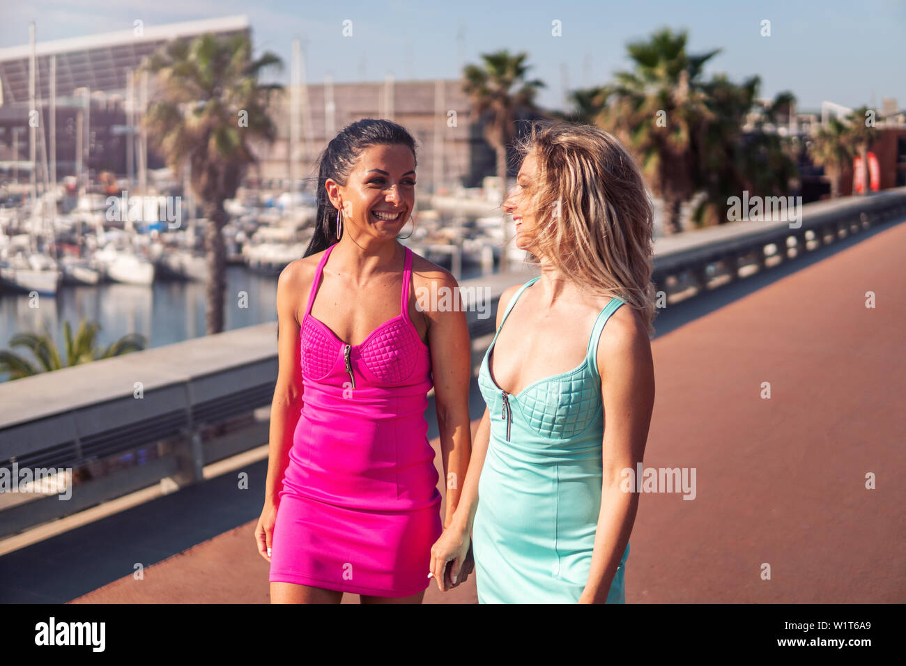 Happy best friends or sisters posing and showing lovely relationship Stock Photo