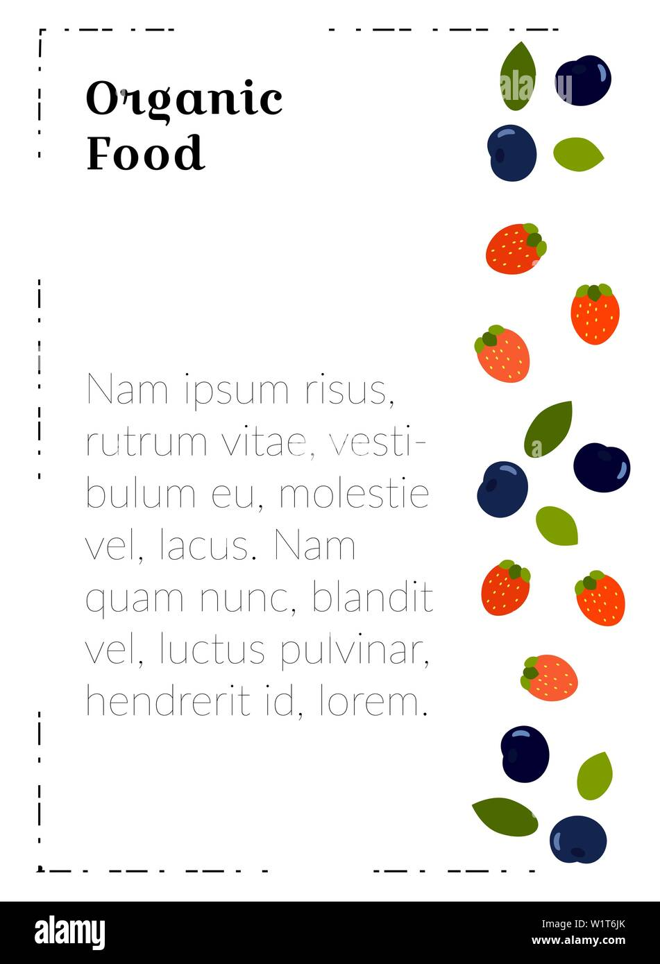 A4 poster template with food for marketing materials. Organic food - flat berries for a vegetarian restaurant menu, ads, covers. Design with useful bl Stock Vector
