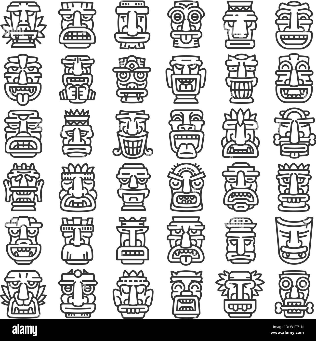 Tiki idols icons set. Outline set of tiki idols vector icons for web design isolated on white background - Stock Vector