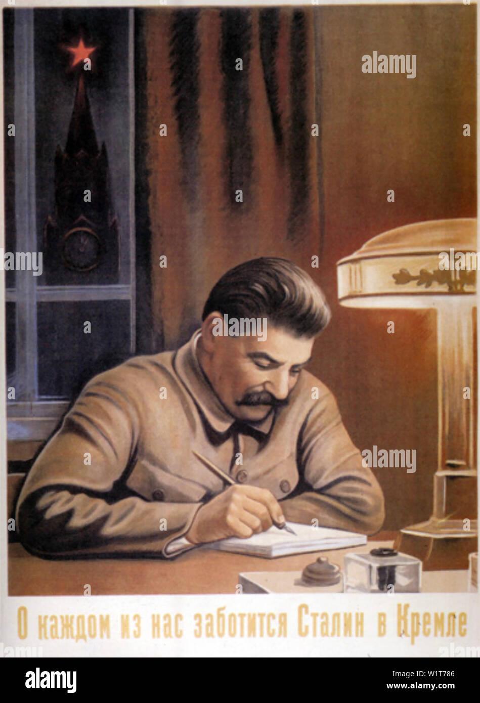 WORKING AT THE KREMLIN COMRADE STALIN THINKS OF EVERYONE 1940 Soviet poster - Stock Image