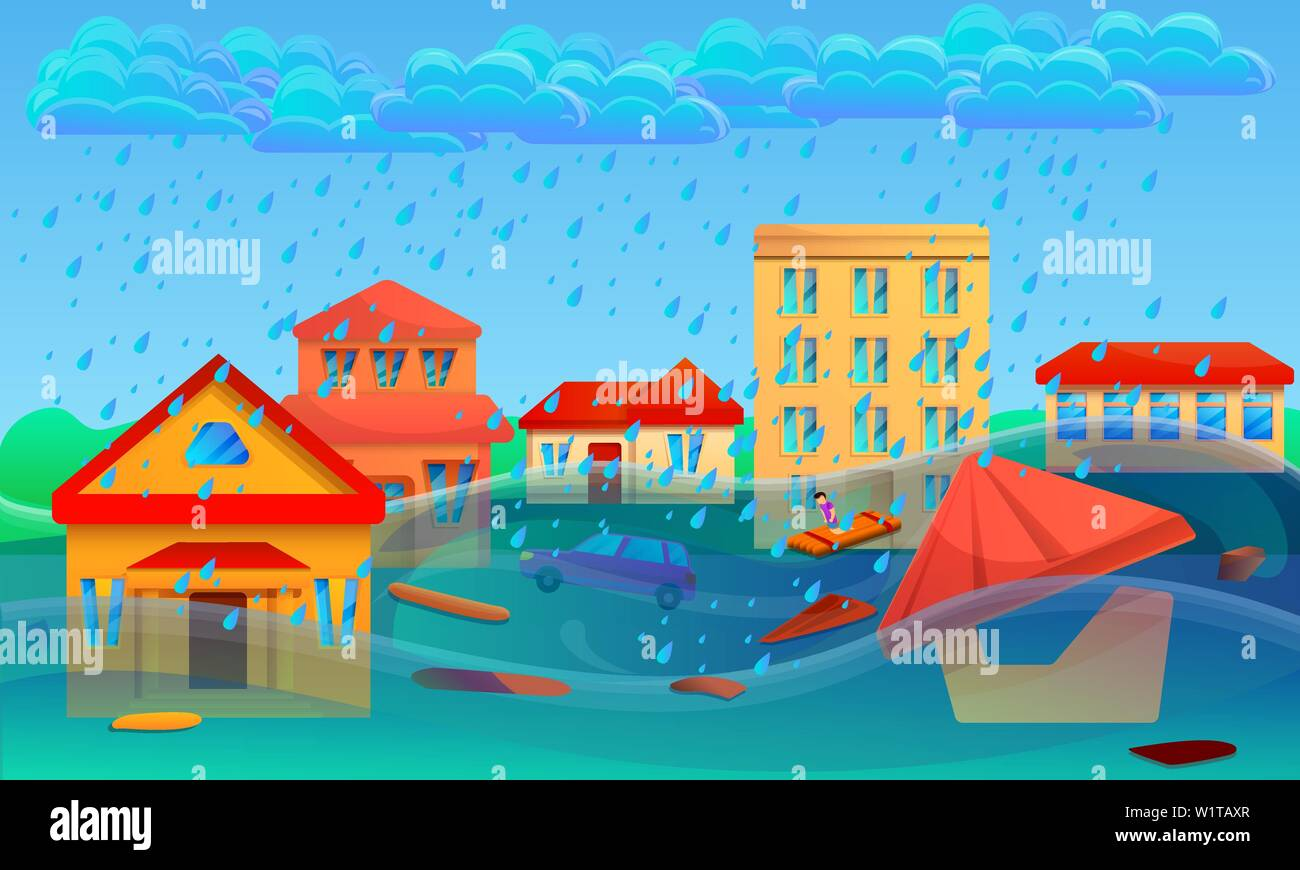 Flood cataclysm concept banner. Cartoon illustration of flood cataclysm vector concept banner for web design - Stock Vector