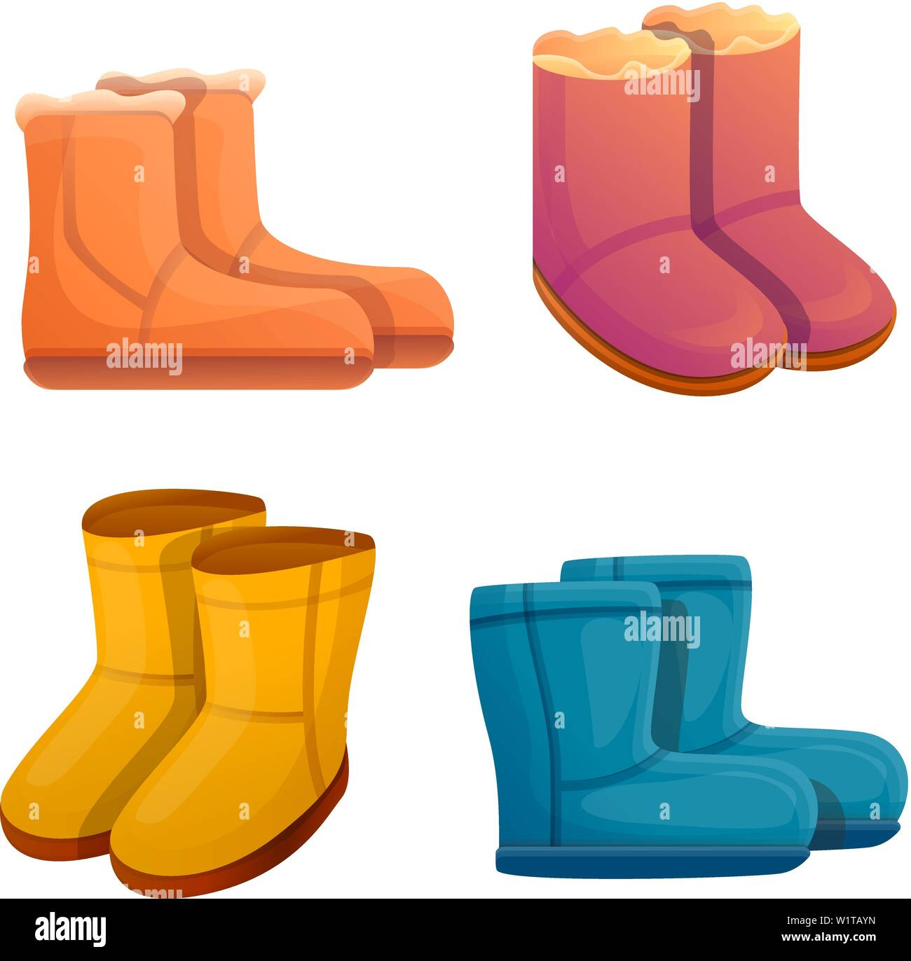c5c7cbb0fc5 Ugg boots icons set. Cartoon set of ugg boots vector icons for web ...