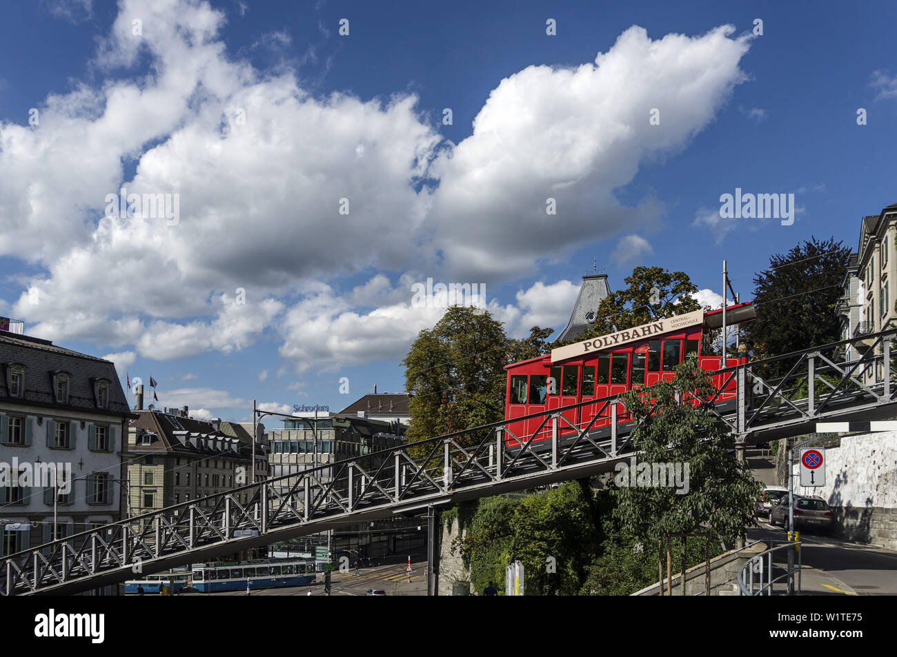 Polybahn at Central, Zurich, Switzerland Stock Photo