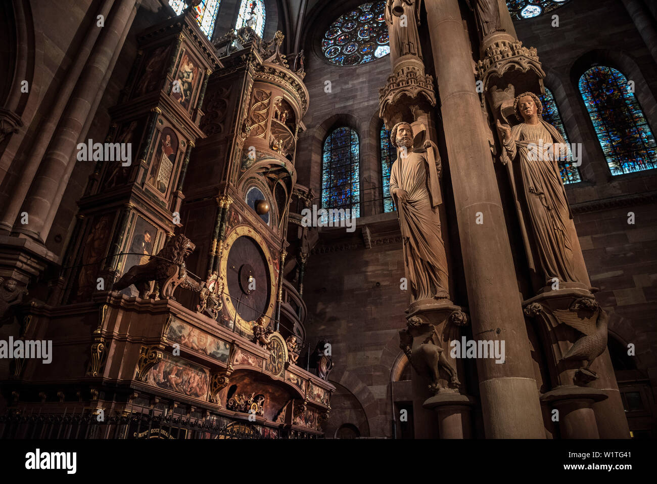 astronomical clock, interior of Strasbourg cathedral, Strasbourg, Alsace, France Stock Photo