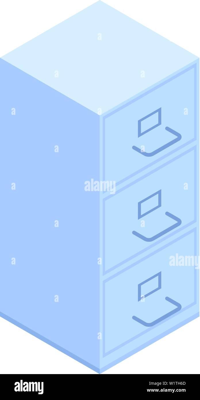 Office folder drawer icon, isometric style - Stock Image