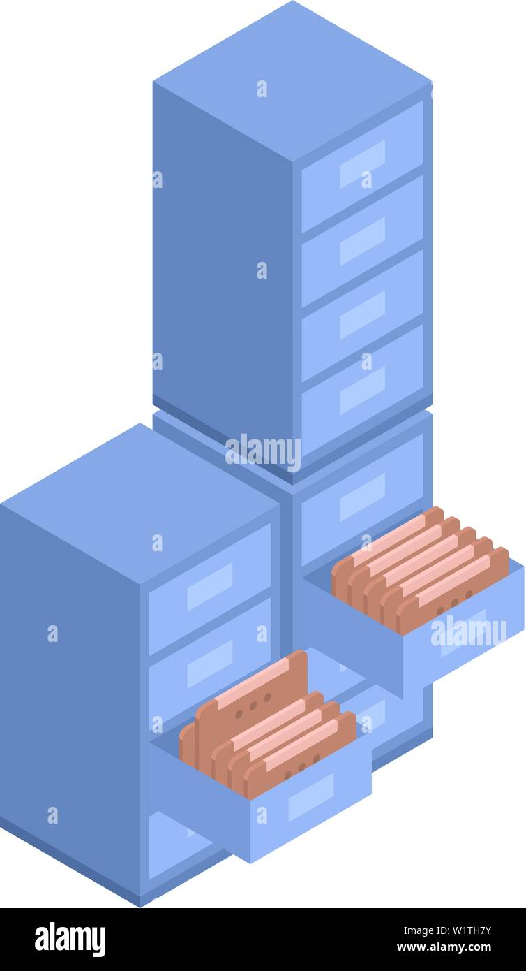 Files of drawer icon, isometric style - Stock Image