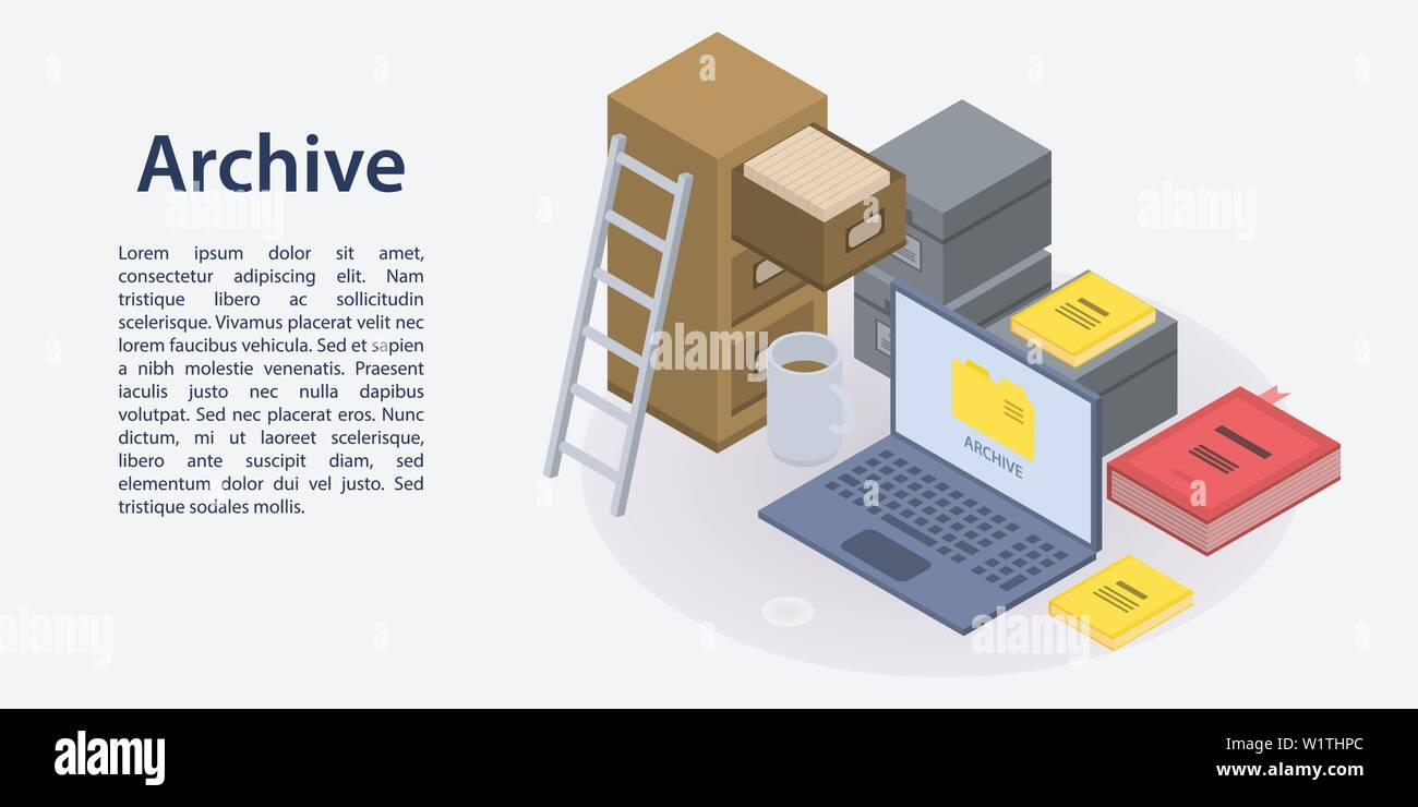 Archive concept banner, isometric style - Stock Image