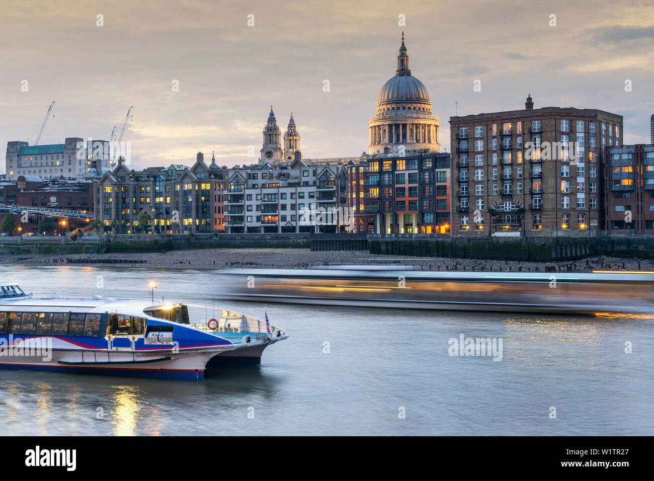 St Paul's Cathedral and City of London, river Thames, London England UK - Stock Image