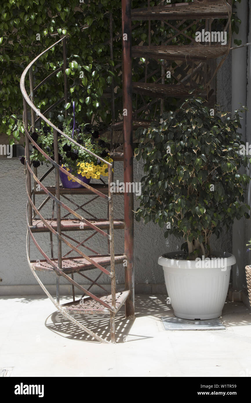 Picture of: Outdoor Spiral Staircase In Paleochora South West Crete Greece Stock Photo Alamy