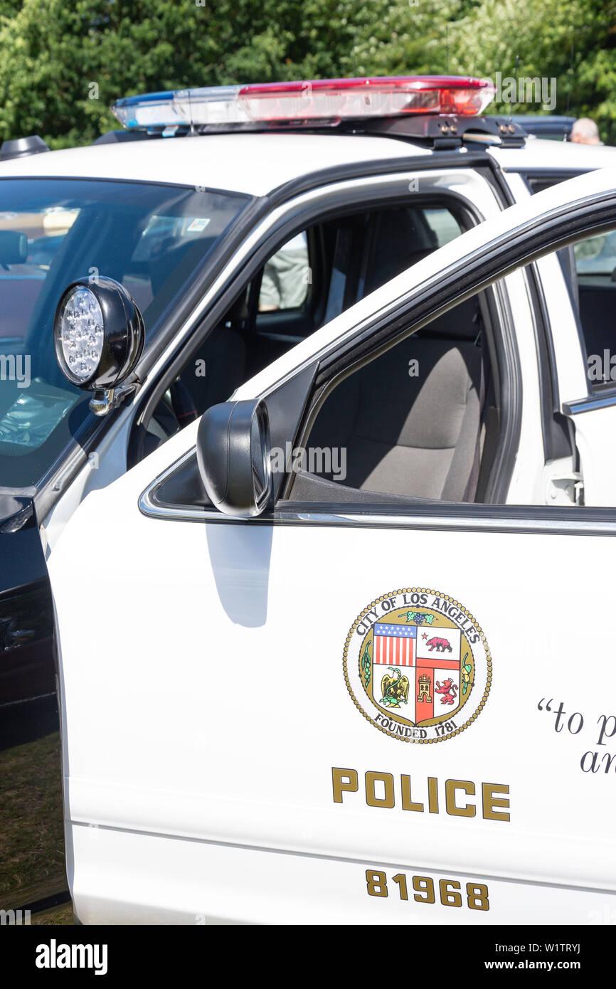 Los Angeles police car logo, Marina del Rey, Los Angeles, California, United States of America Stock Photo