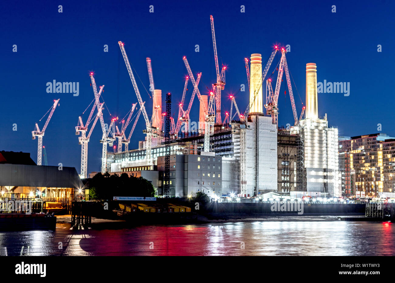 Battersea Power Station Development at Night London UK - Stock Image