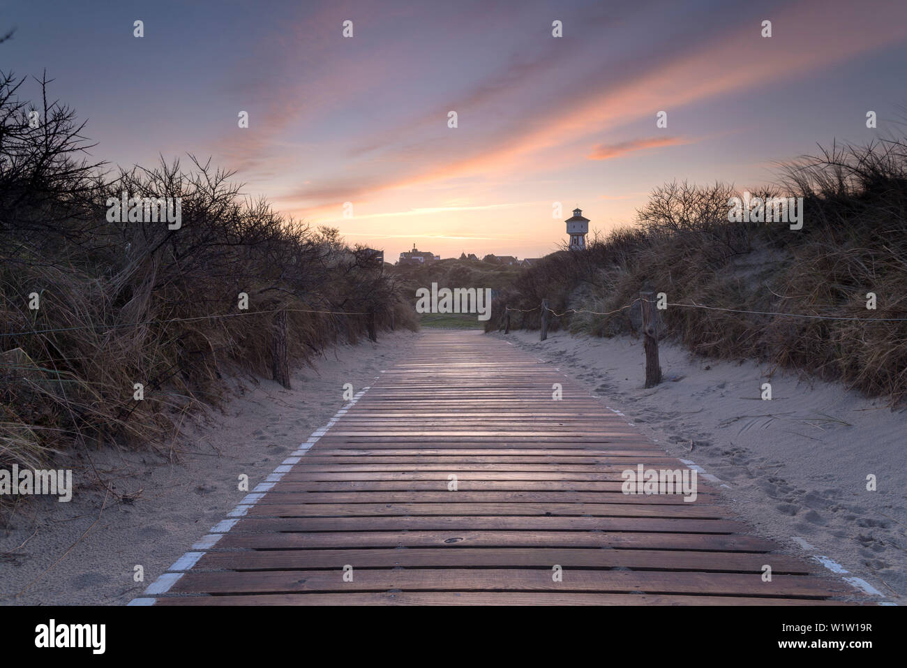 Footpath, Dune, Sunrise, Dawn, Water Tower, Langeoog, North Sea, East Frisian Islands, East Frisia, Lower Saxony, Germany, Europe Stock Photo