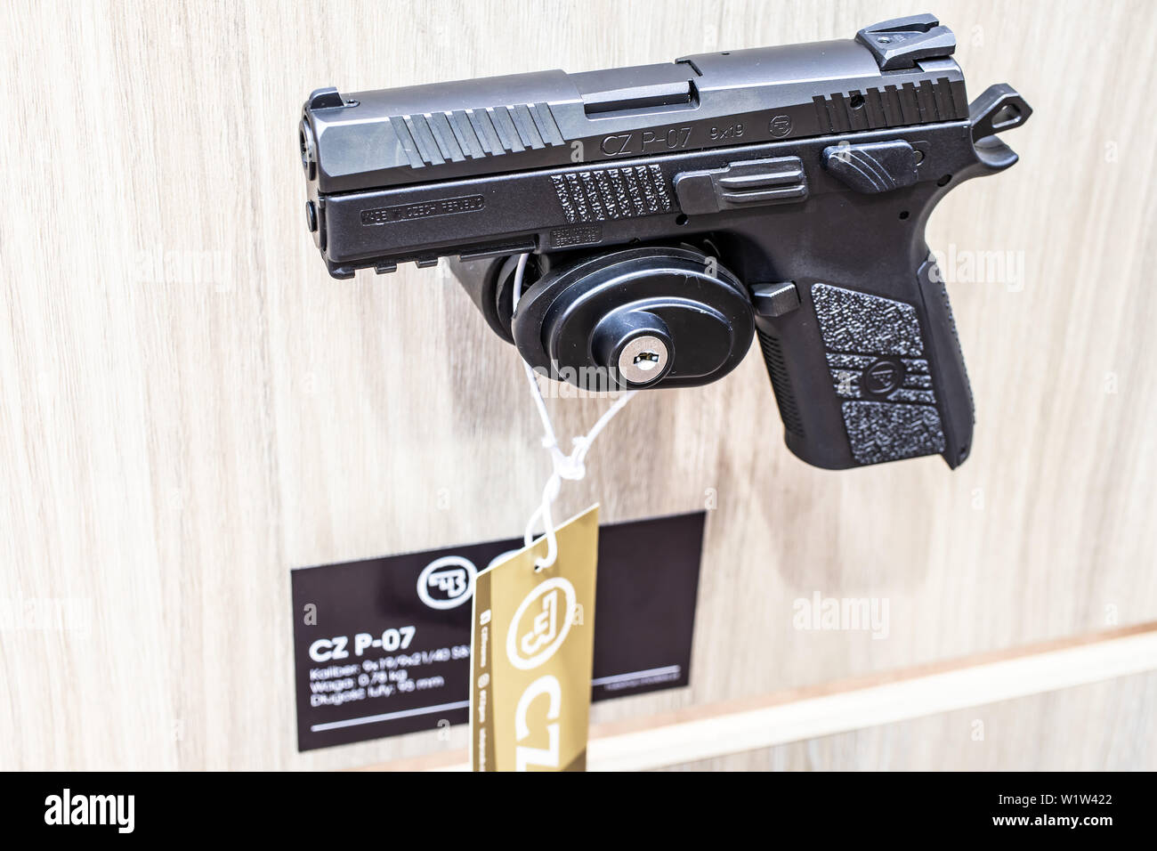 Poznan, Poland, Feb 2019 CZ semi-automatic pistol made by Czech firearm manufacturer CZUB in Czech Republic, exposition, KNIEJE Hunting shooting fair - Stock Image