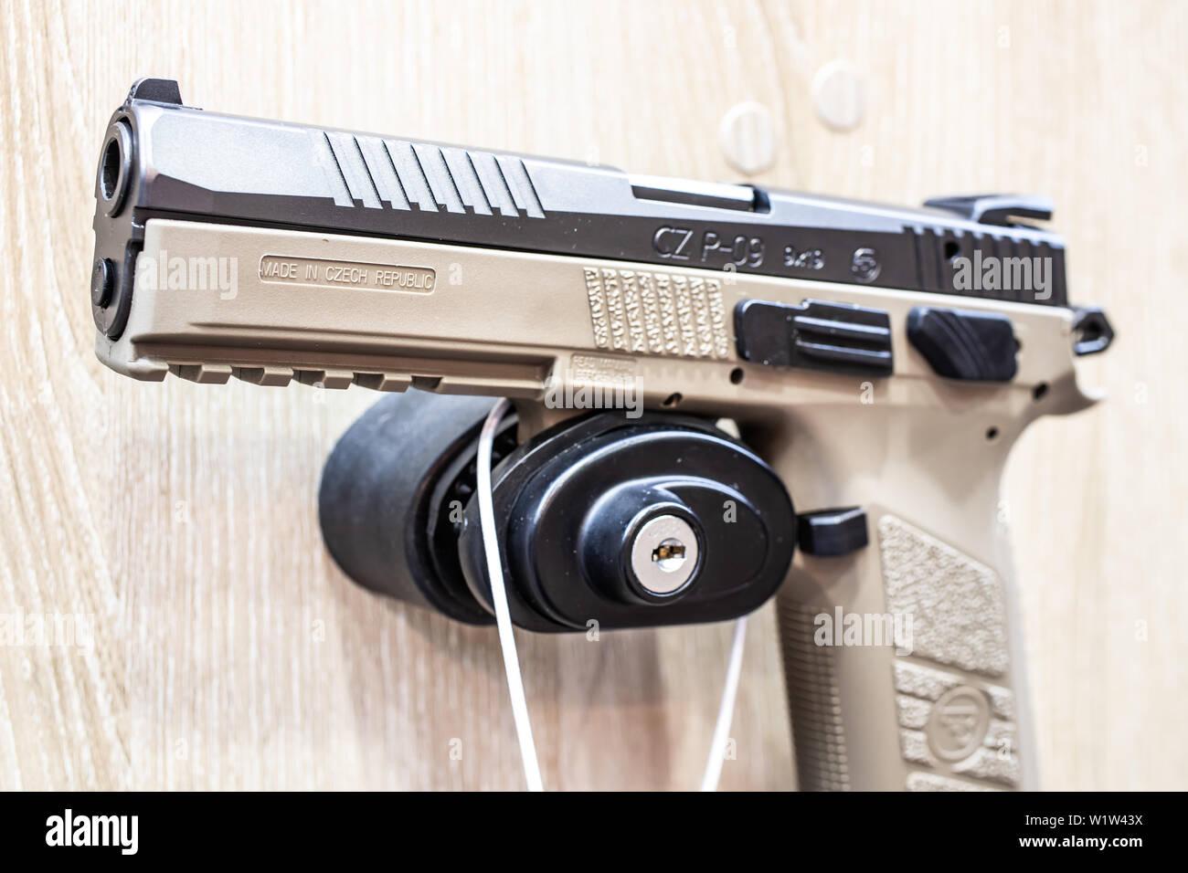 Poznan, Poland, Feb 2019 CZ semi-automatic pistol made by Czech firearm manufacturer CZUB in Czech Republic, exposition, KNIEJE Hunting shooting fair - Stock Image