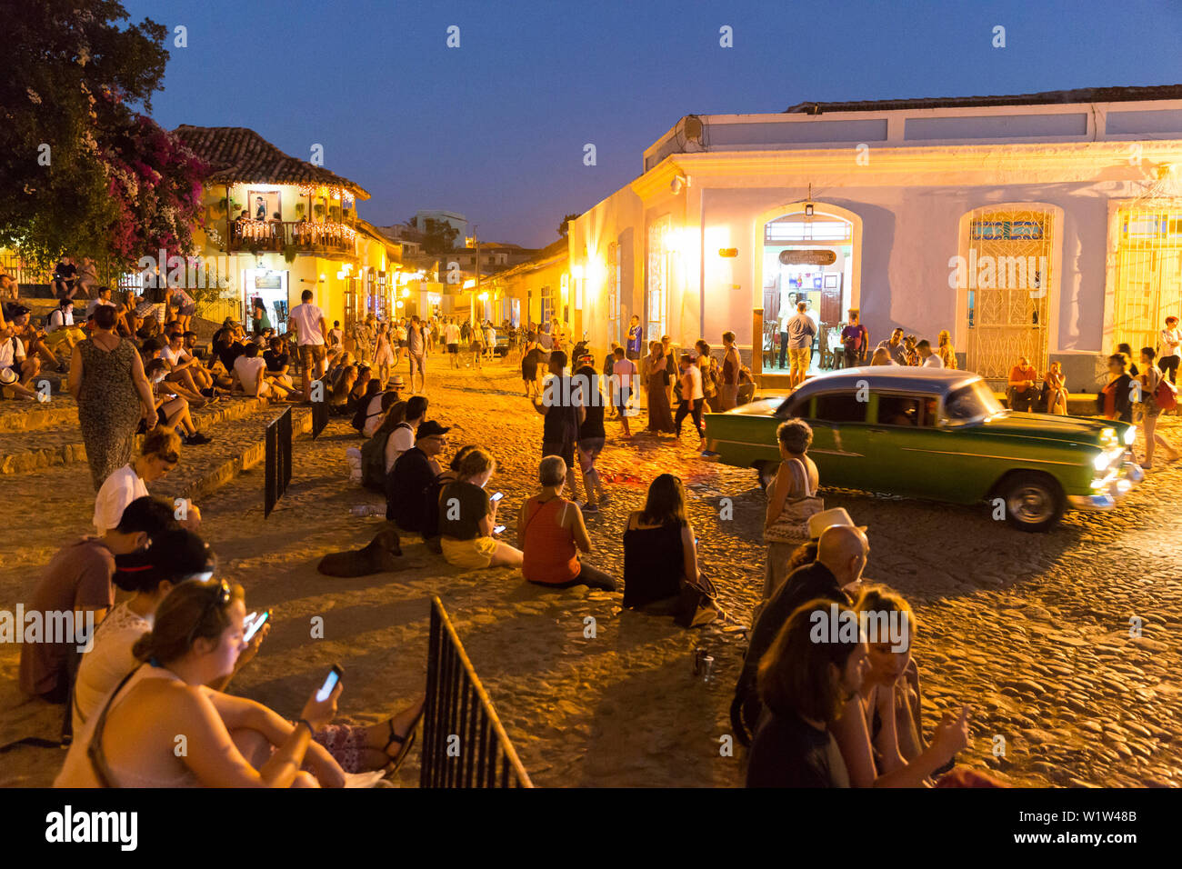 terraces of Trinidad, next to the Iglesia Parroquial de la Santisima Trinidad close to Plaza Mayor, internet hot spot, meeting point for tourists from - Stock Image