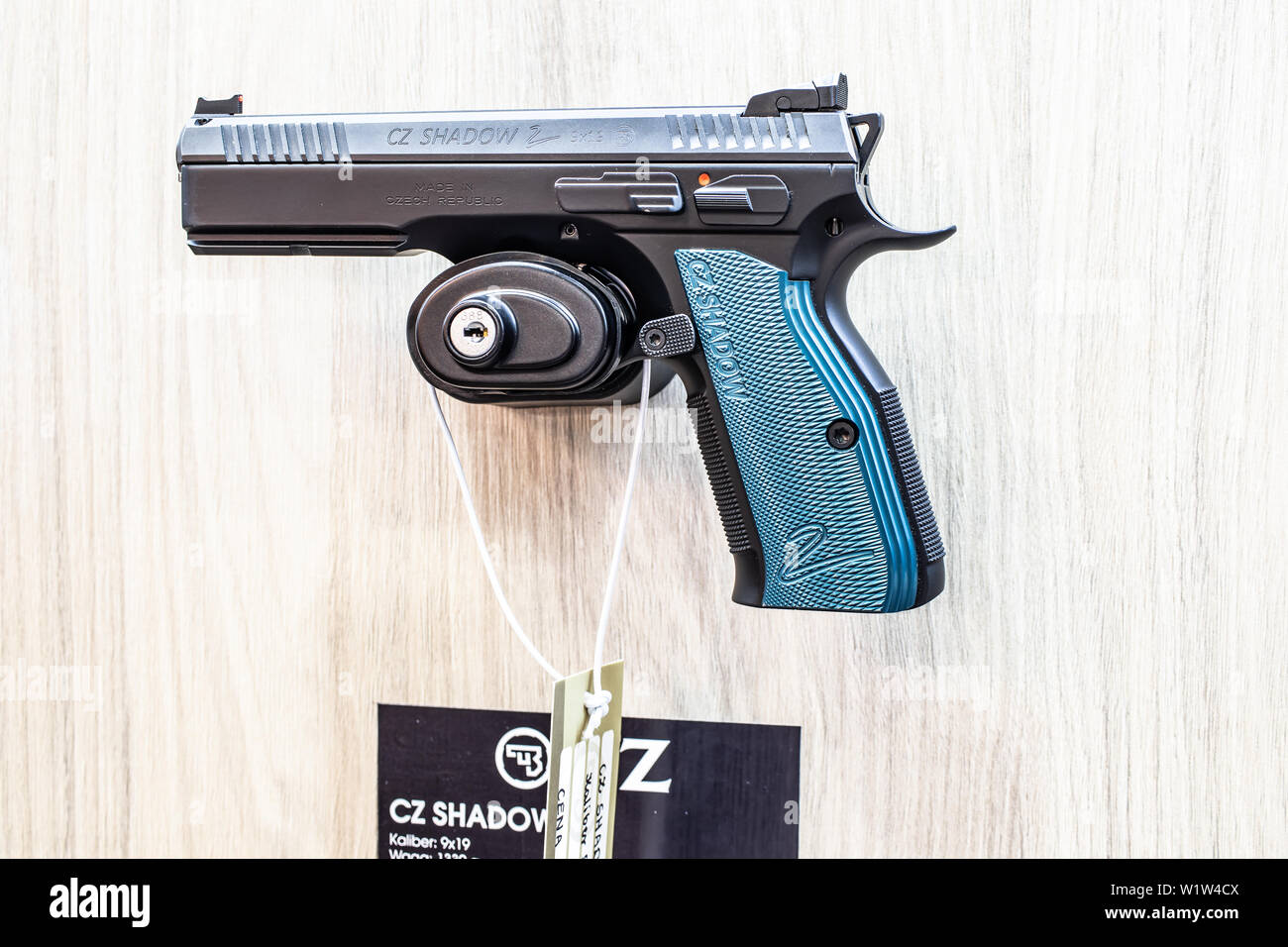 Poznan, Poland, Feb 2019 CZ semi-automatic pistol made by Czech firearm manufacturer CZUB in Czech Republic, exposition, KNIEJE Hunting shooting fair Stock Photo