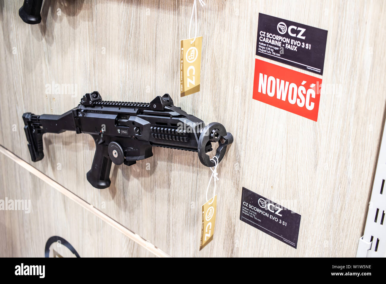 Poznan, Poland, Feb 2019 CZ CZUB Ceska Zbrojovka Scorpion, Bren, rifles, guns, carbines, exposition, KNIEJE Hunting shooting fair Stock Photo