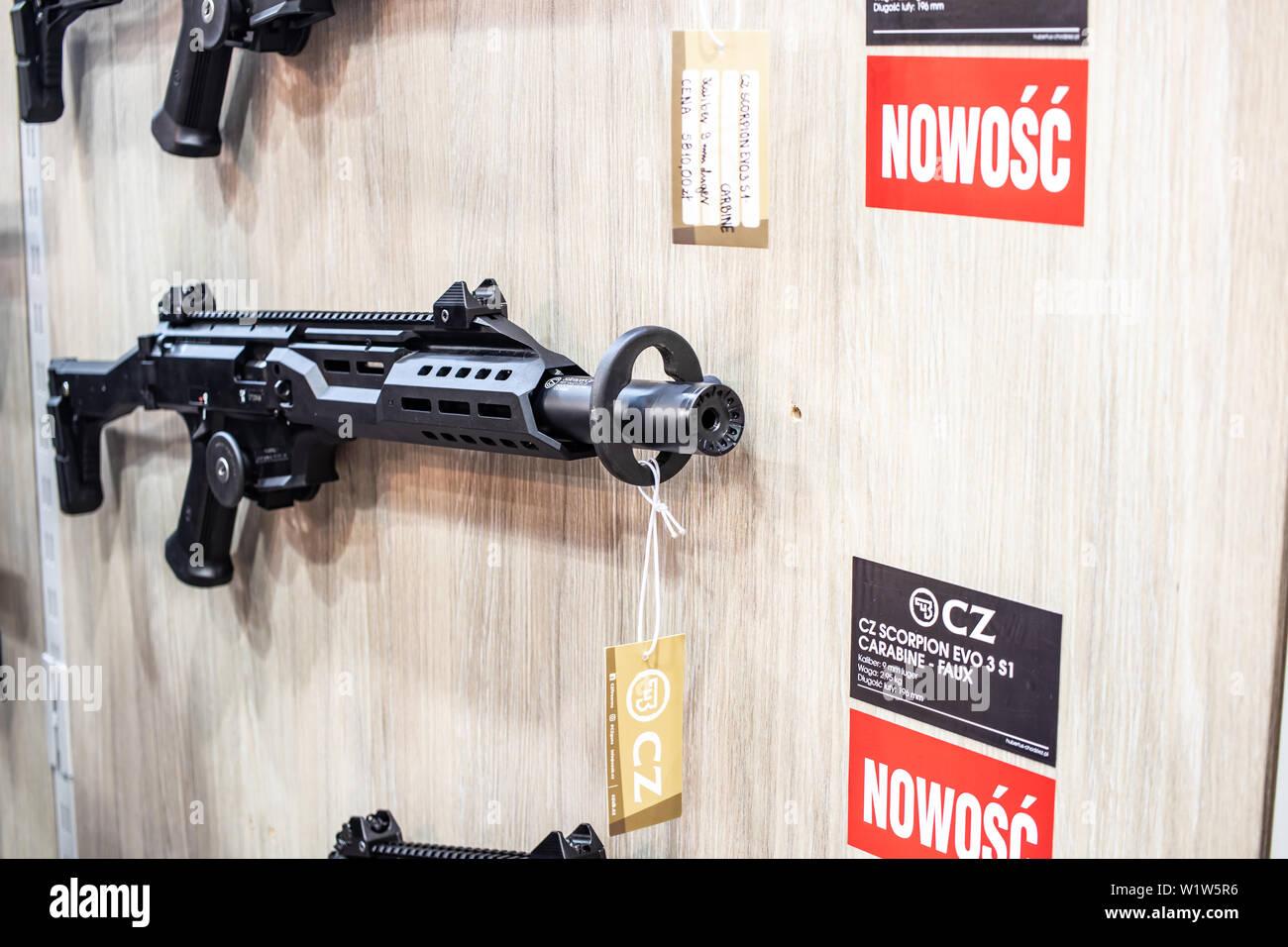 Poznan, Poland, Feb 2019 CZ CZUB Ceska Zbrojovka Scorpion, Bren, rifles, guns, carbines, exposition, KNIEJE Hunting shooting fair Stock Photo