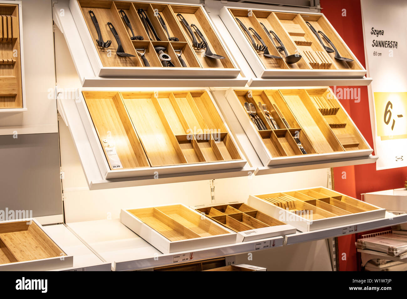 Lodz Poland Jan 2019 Exhibition Interior Ikea Store Cutlery Tray With Modern Cutlery Set Modern Kitchen Equipment Ikea Sells Home Accessories Stock Photo Alamy