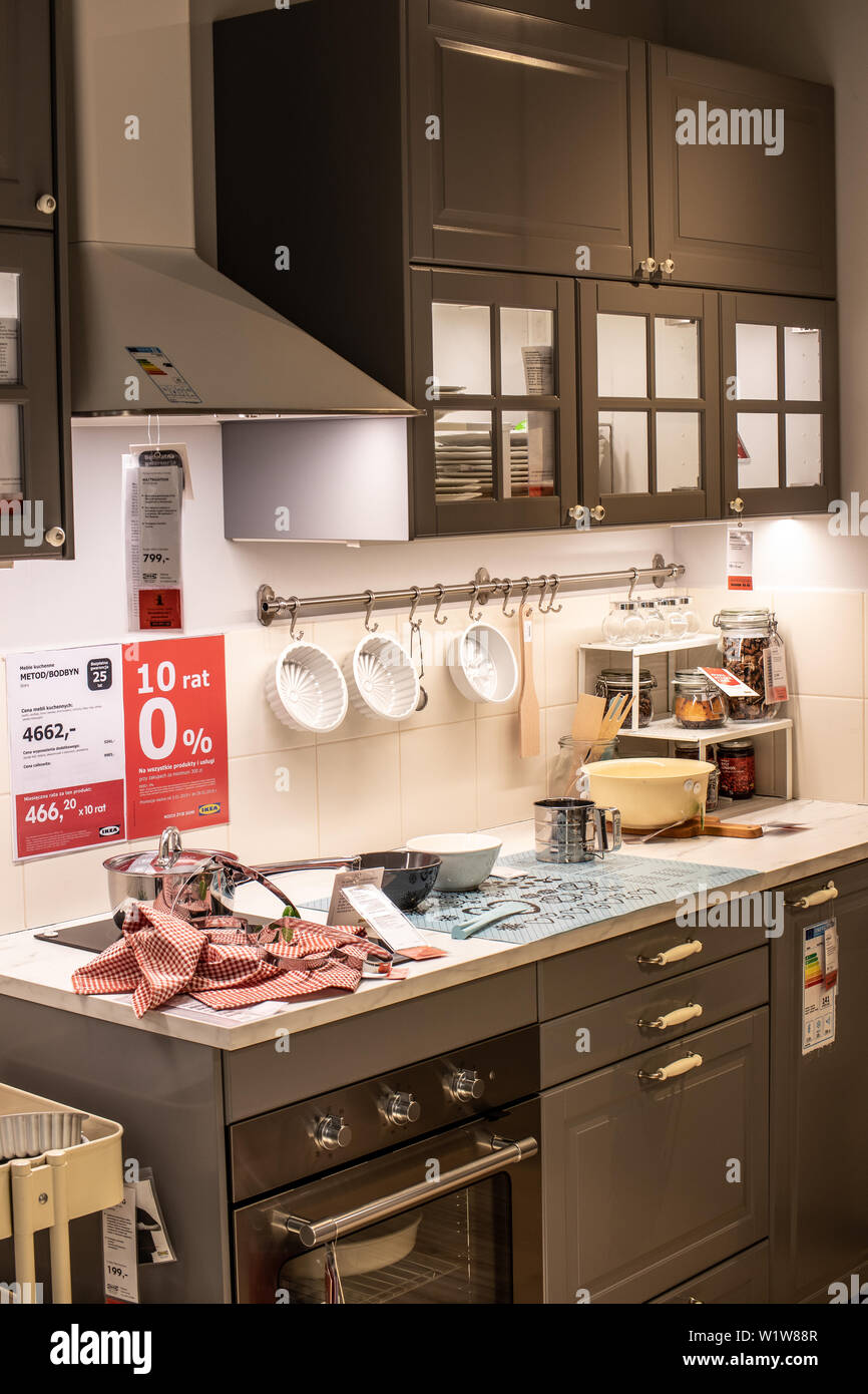 Lodz, Poland, Jan 2019 exhibition, interior IKEA store ...