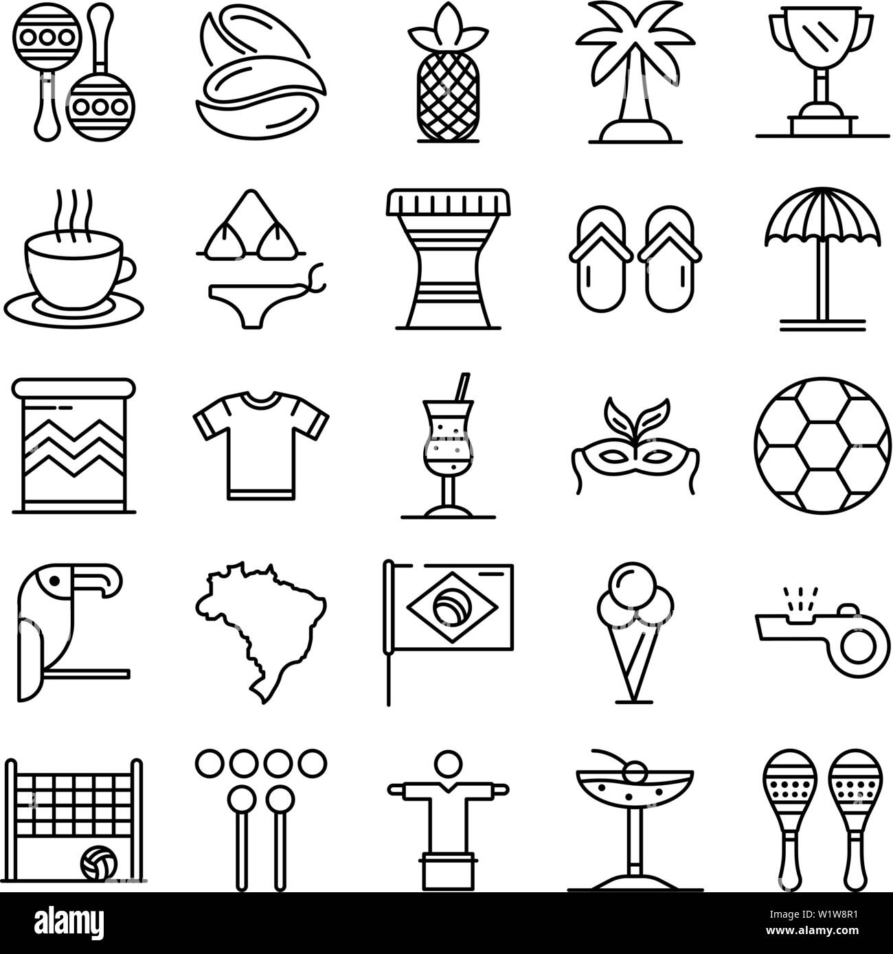 Brazil icons set, outline style - Stock Image