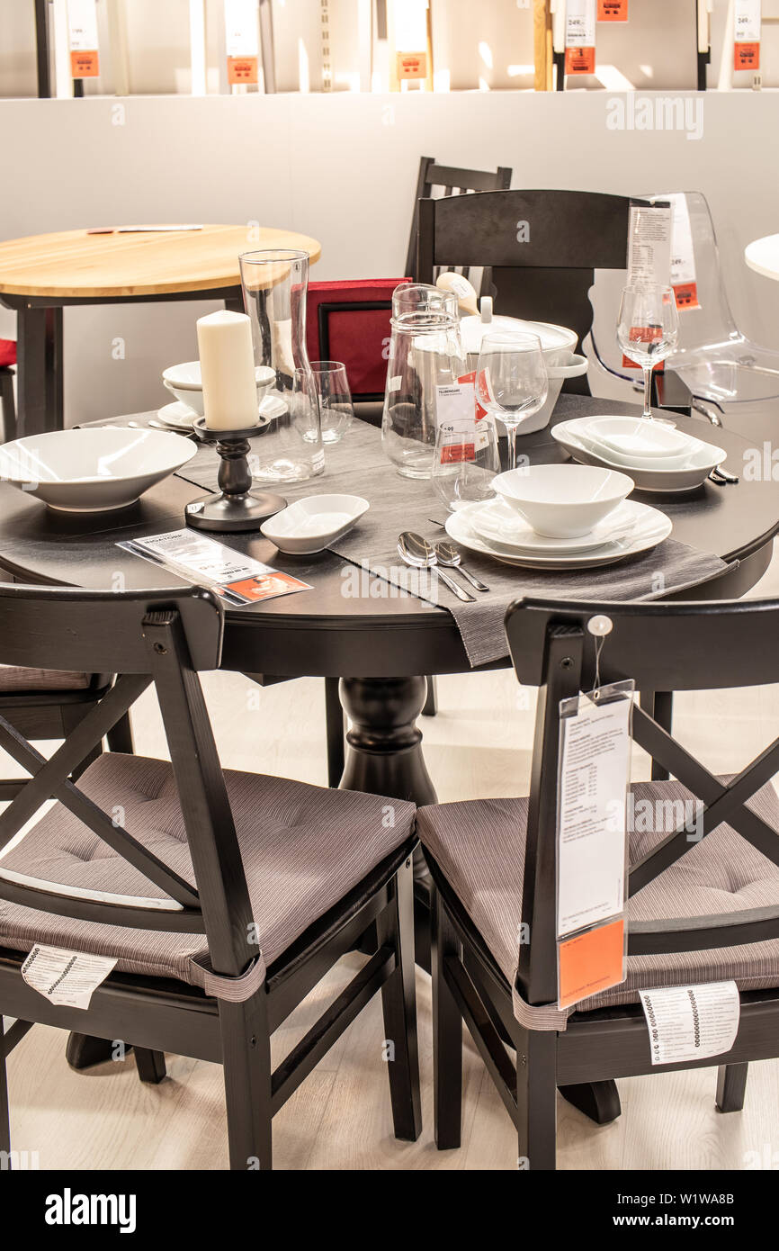 Lodz Poland Jan 2019 Exhibition Interior Ikea Store Modern Dining Table Chairs Tableware Ikea Sells Ready To Assemble Furniture Home Accessories Stock Photo Alamy