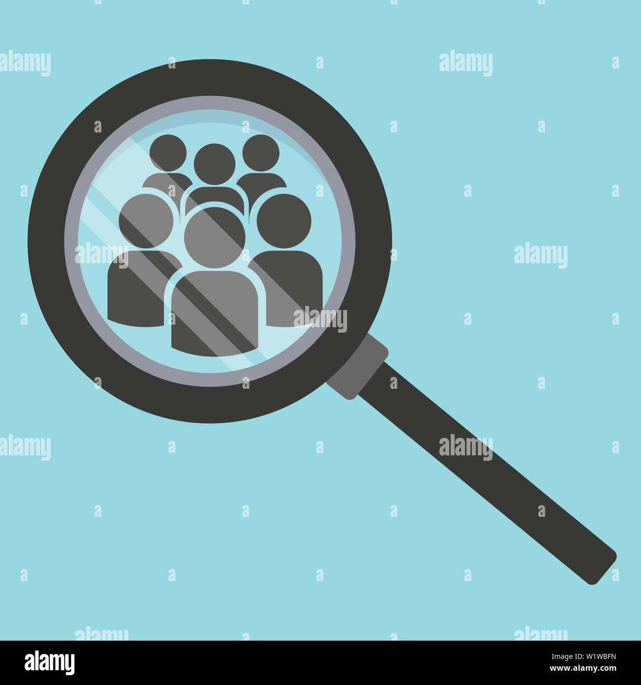 Team search icon. Look at people under a magnifying glass. Vector illustration on color background. - Stock Image