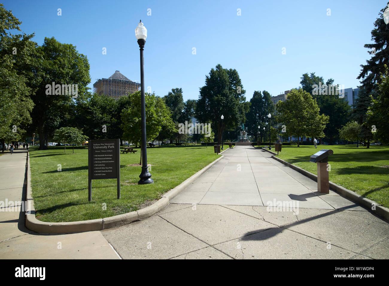 Indiana war memorials university park Indianapolis Indiana USA - Stock Image