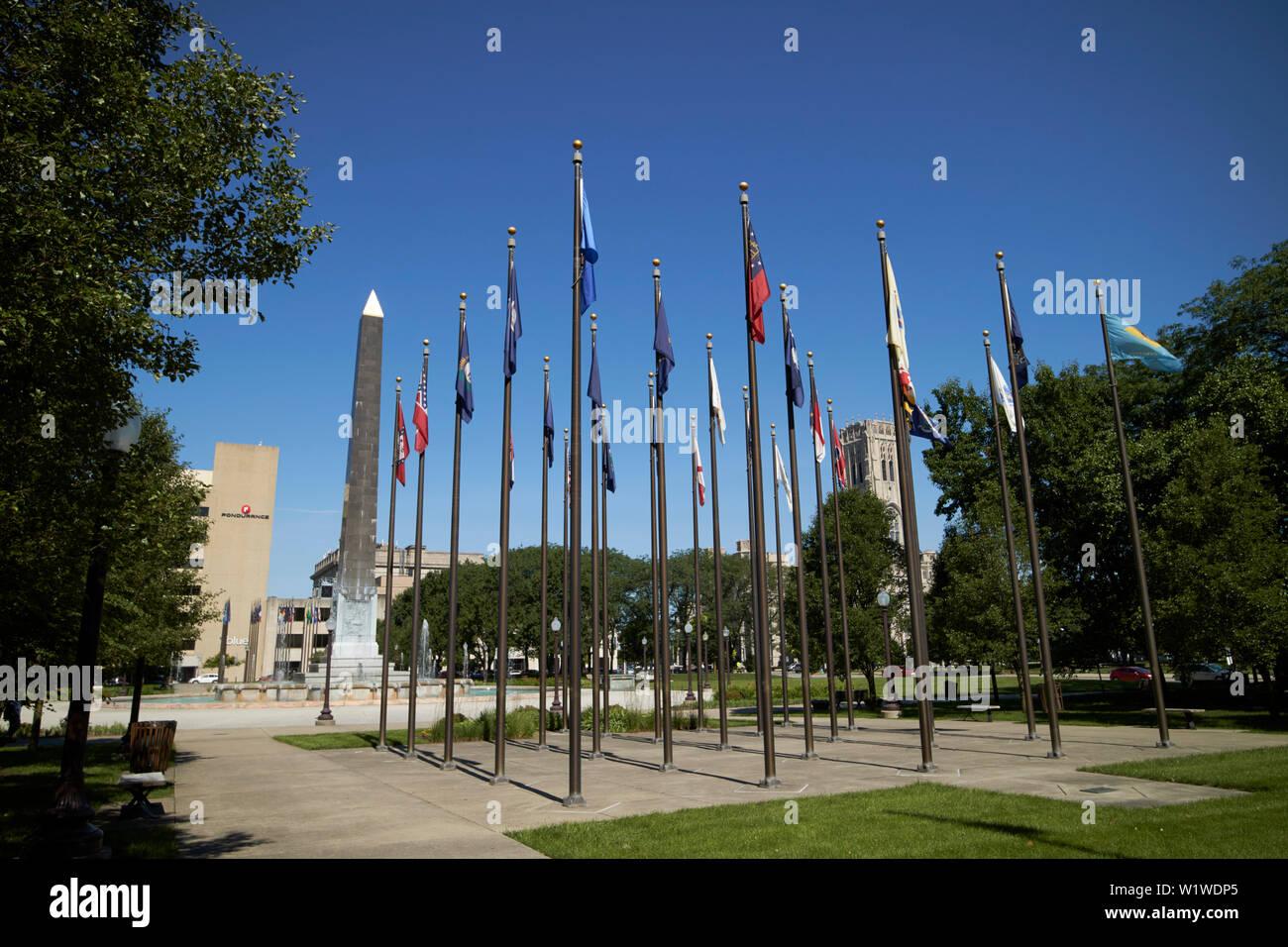 veterans memorial plaza in ndianapolis Indiana USA - Stock Image