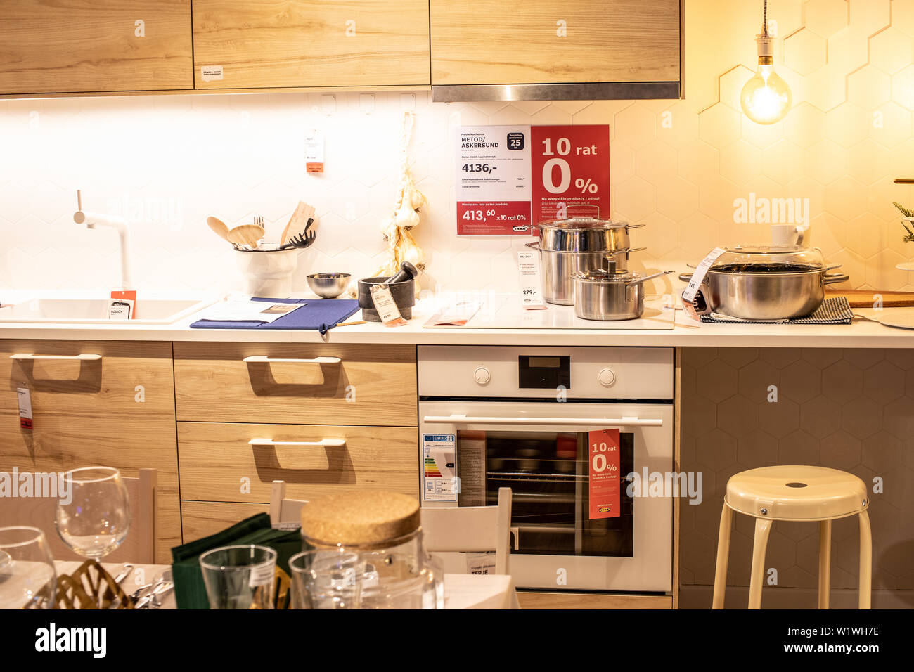 Lodz, Poland, Jan 2019 exhibition, interior IKEA store ...