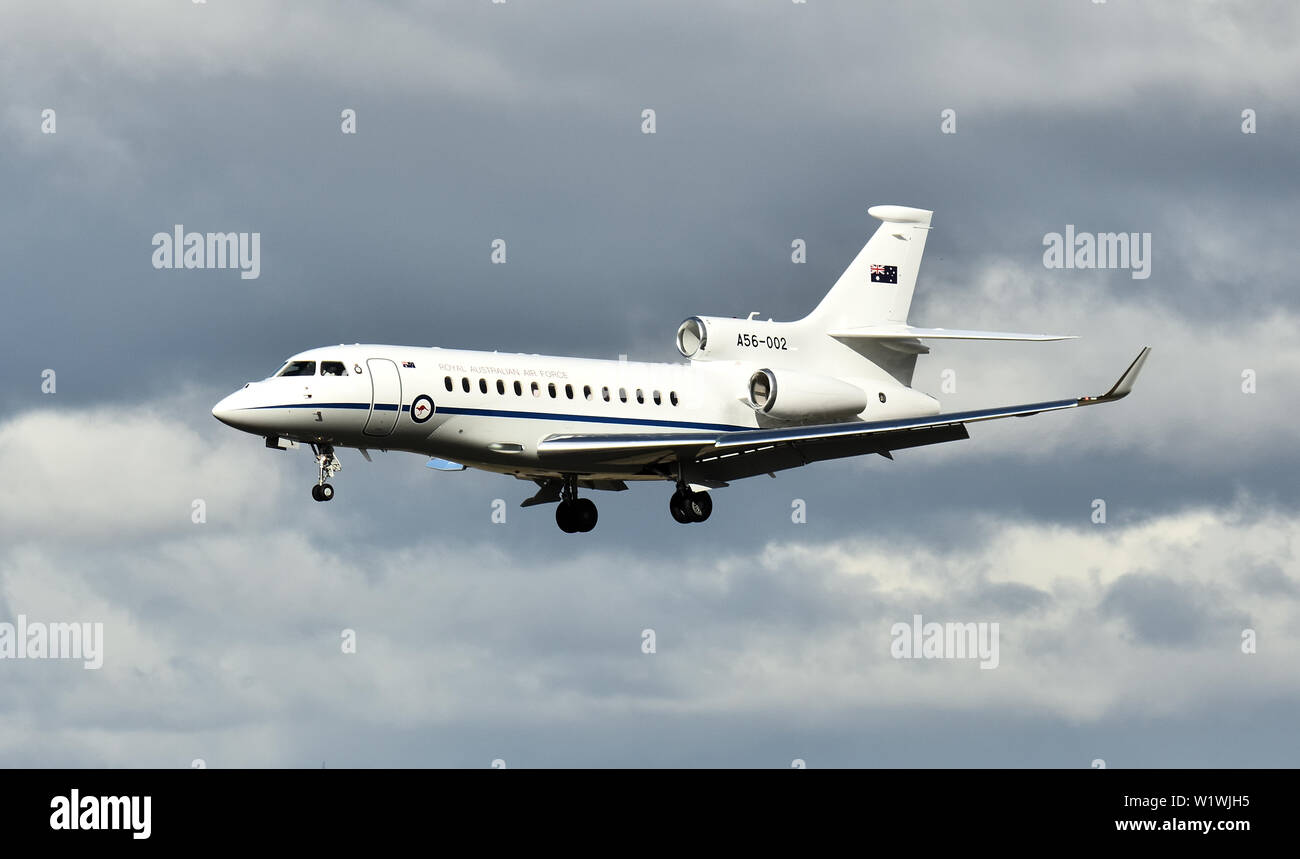 Dassault Falcon 7X A56-002 of 34SQN, Royal Australian Air Force. On this occasion carrying Australian Prime Minister Scott Morrison. - Stock Image