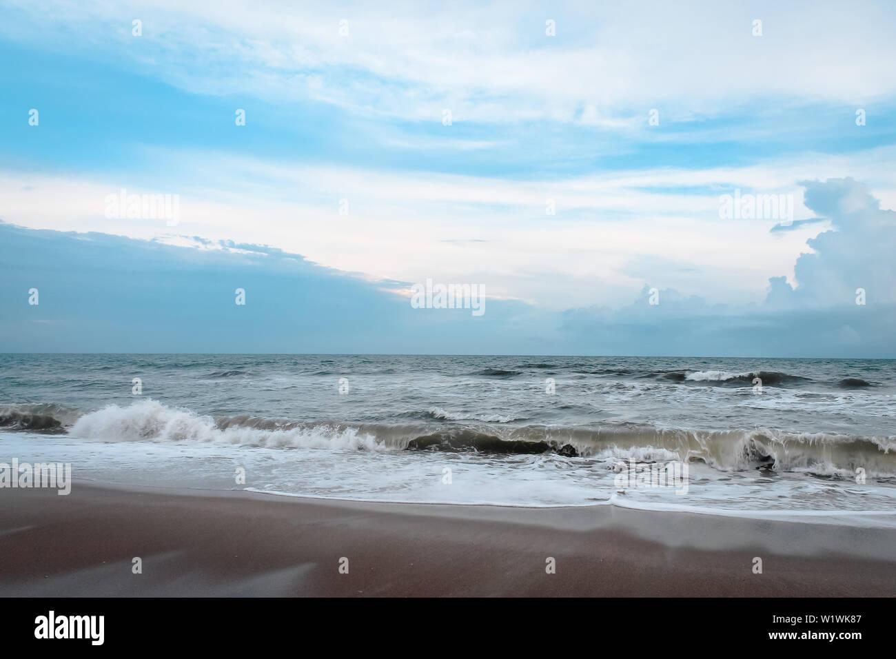Waves crashing in on a North Carolina Beach Stock Photo: 259334103