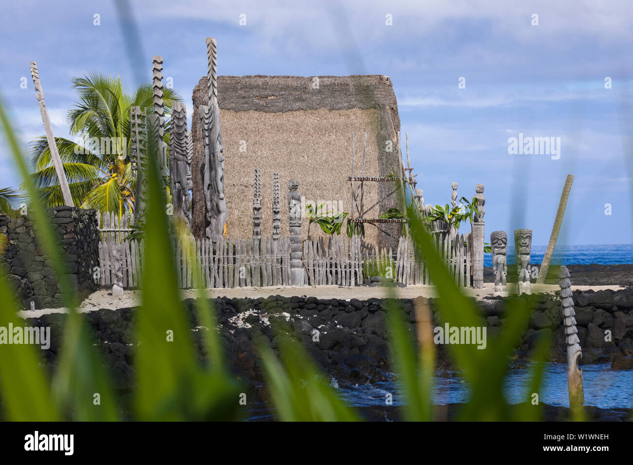 Pu'uhonua O Honaunau NP with Ale'ale'a Heiau in South Kona, Hawaii - Stock Image