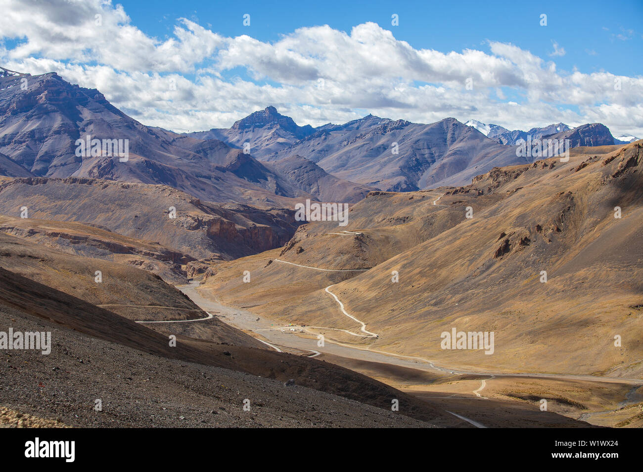Himalayan mountain landscape along Leh to Manali highway in India. Winding road and majestic rocky mountains in Indian Himalayas, Ladakh, Jammu and Ka Stock Photo