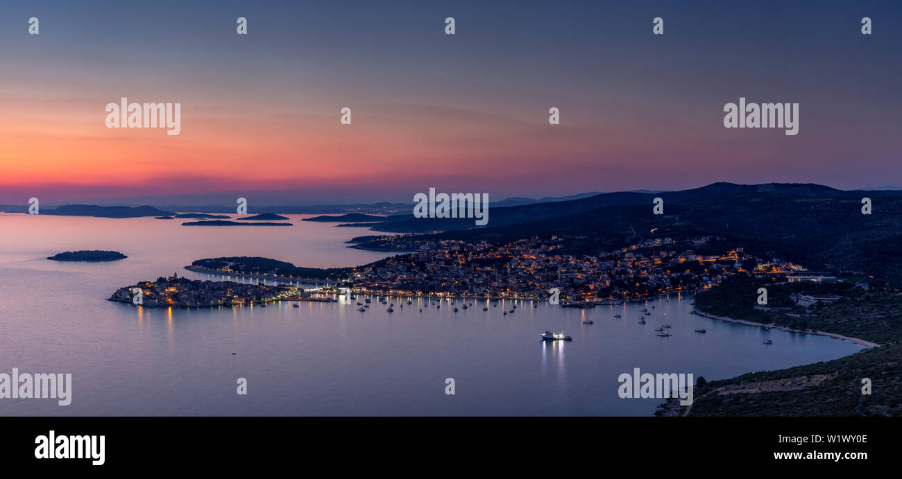Panorama of dusk over Primosten on the coast of Croatia Stock Photo