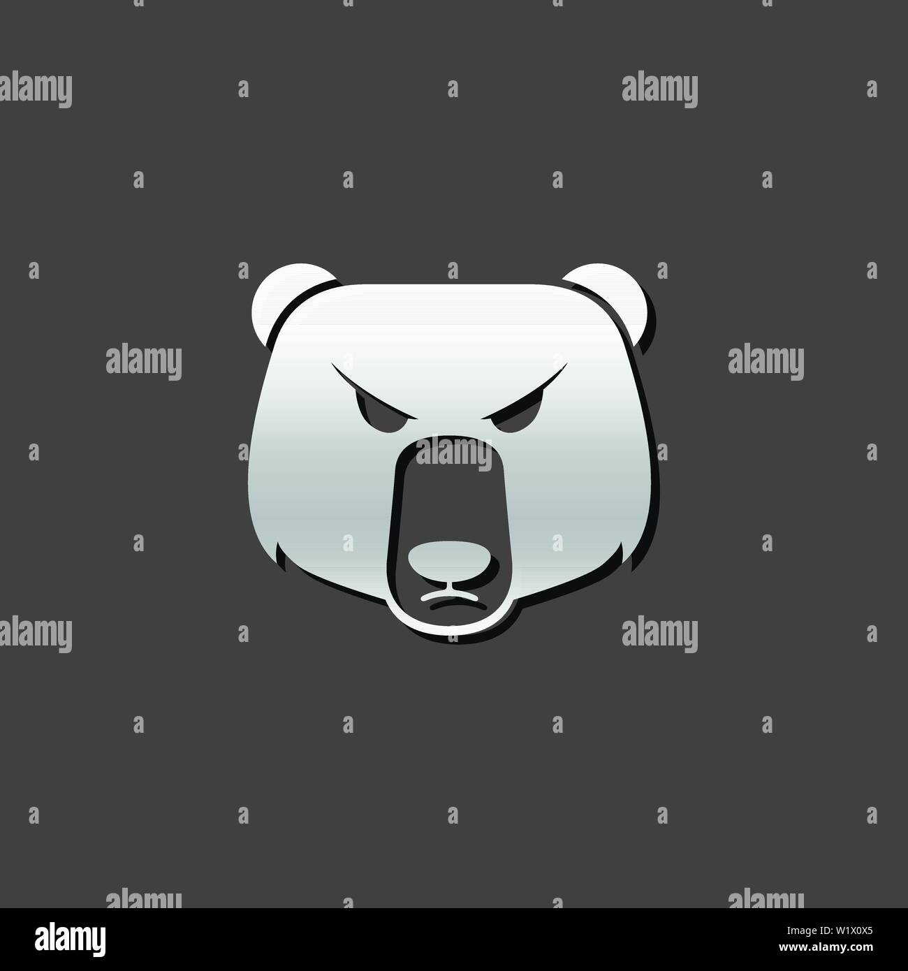 Bear icon in metallic grey color style. Finance speculation trend - Stock Vector