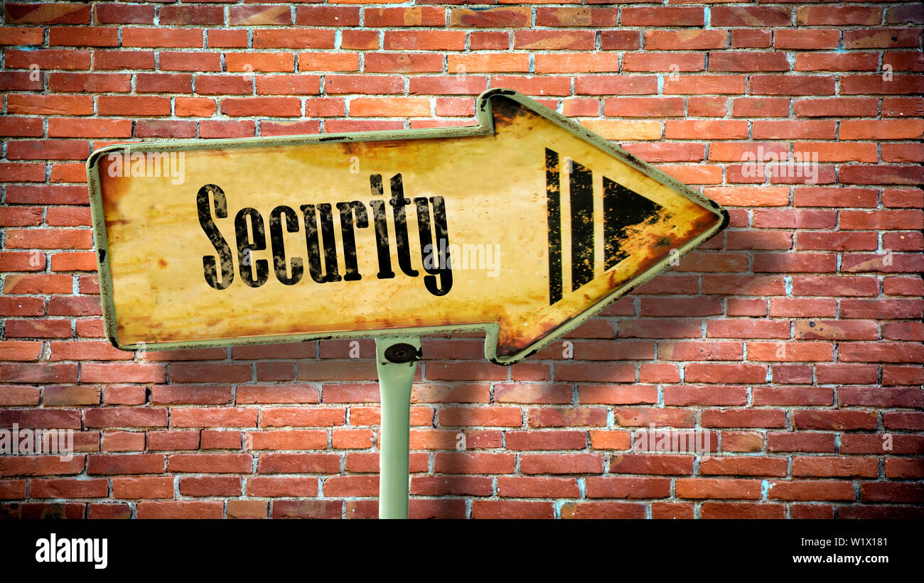 Street Sign the Direction Way to Security - Stock Image