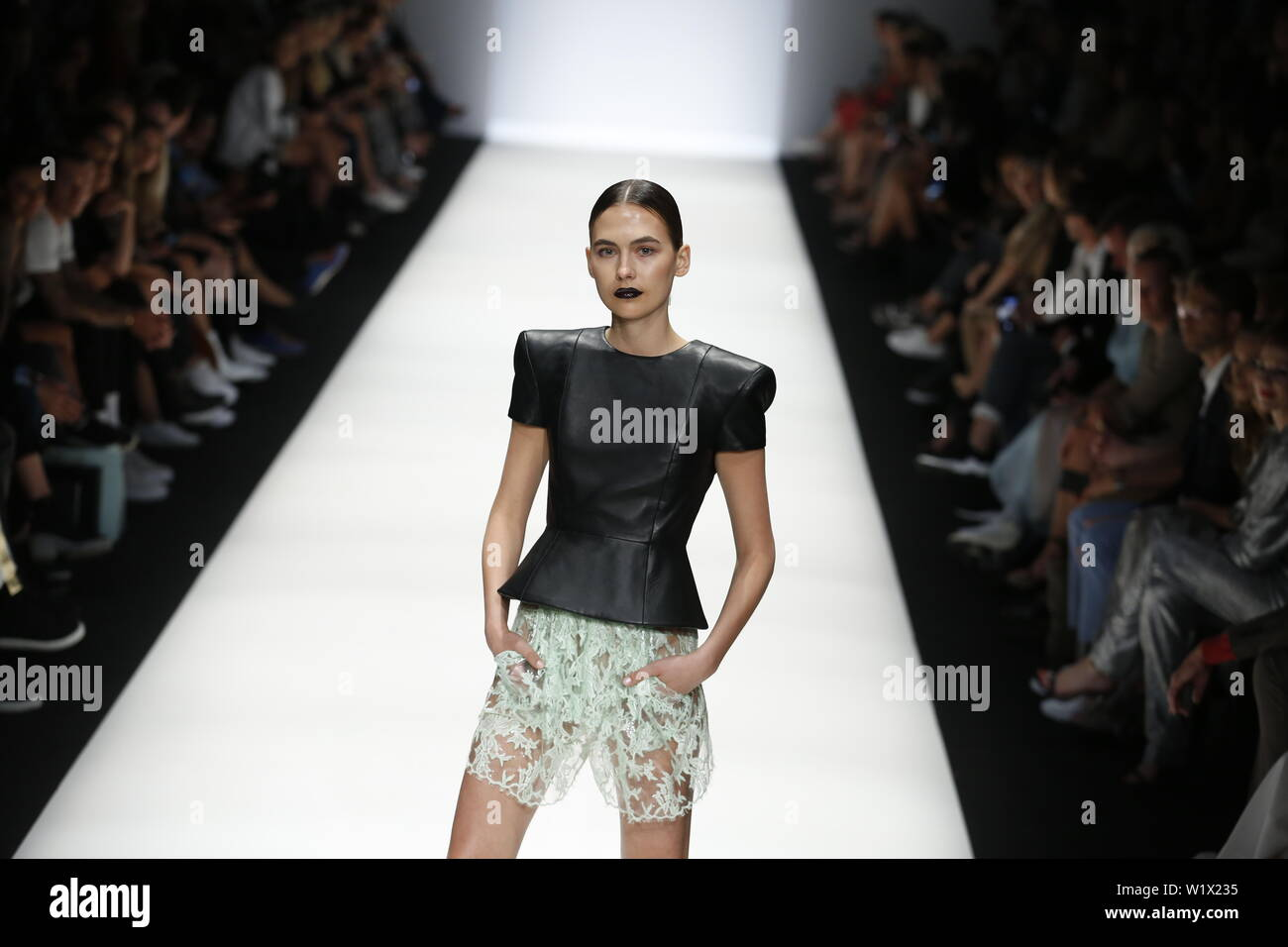 Berlin, Germany. 03rd July, 2019. The photo shows models on the catwalk with the collections spring/summer 2020 of the designer Atelier Michalsky at Mercedes-Benz Fashion Week. Credit: Simone Kuhlmey/Pacific Press/Alamy Live News Stock Photo