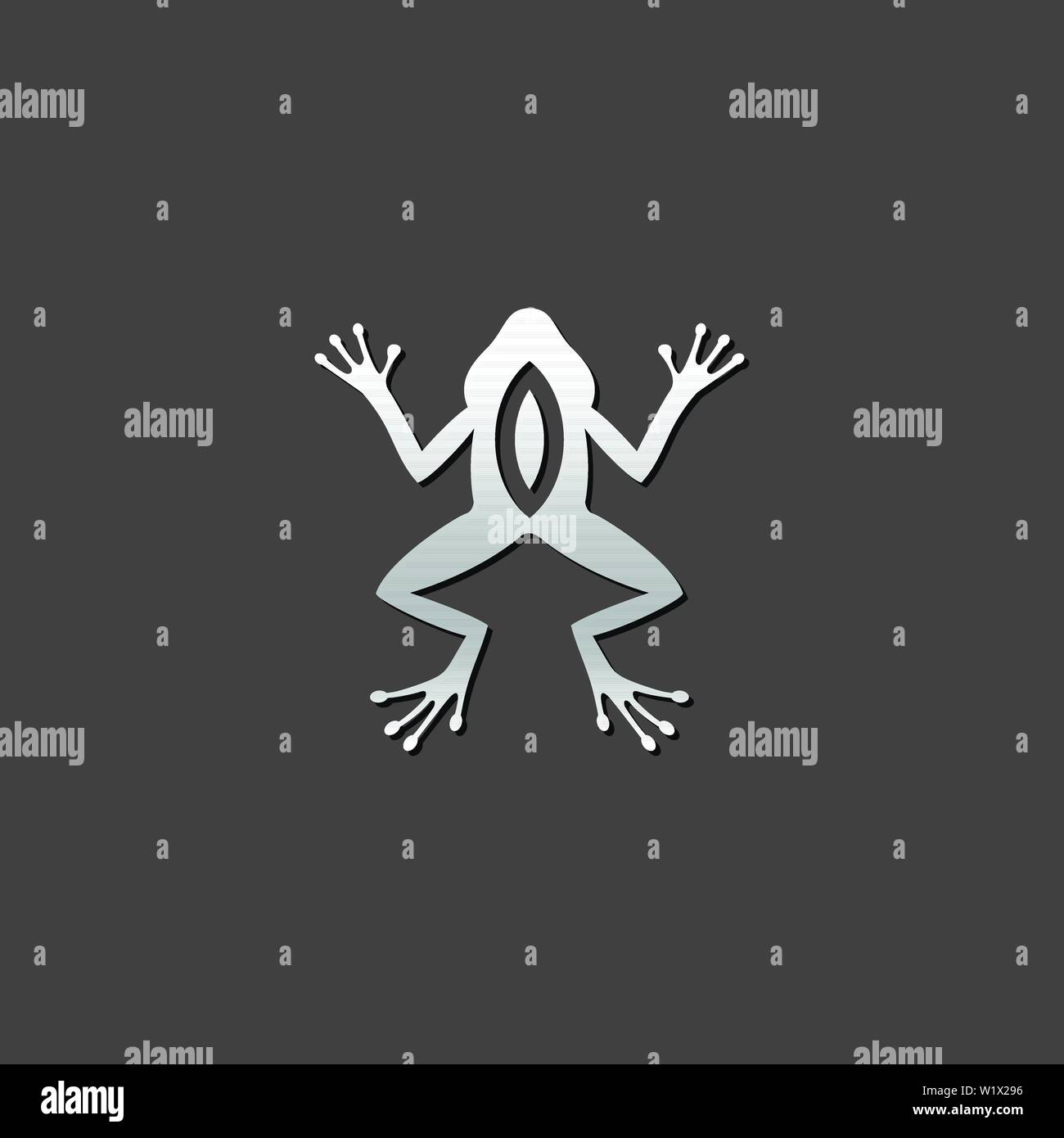 Lab frog icon in metallic grey color style. School experiment biology - Stock Vector