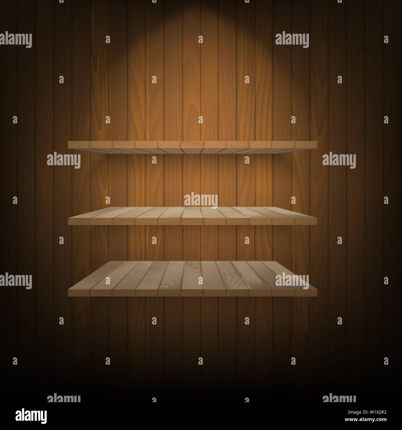 Brown shelves with soft light on wooden wall. Vector. Stock Vector