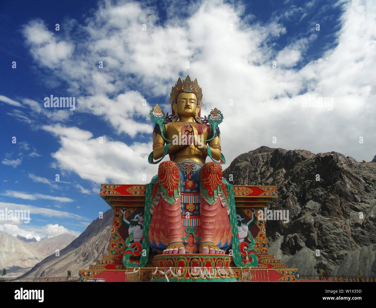 Giant Buddha at Deskit, Ladakh - Stock Image