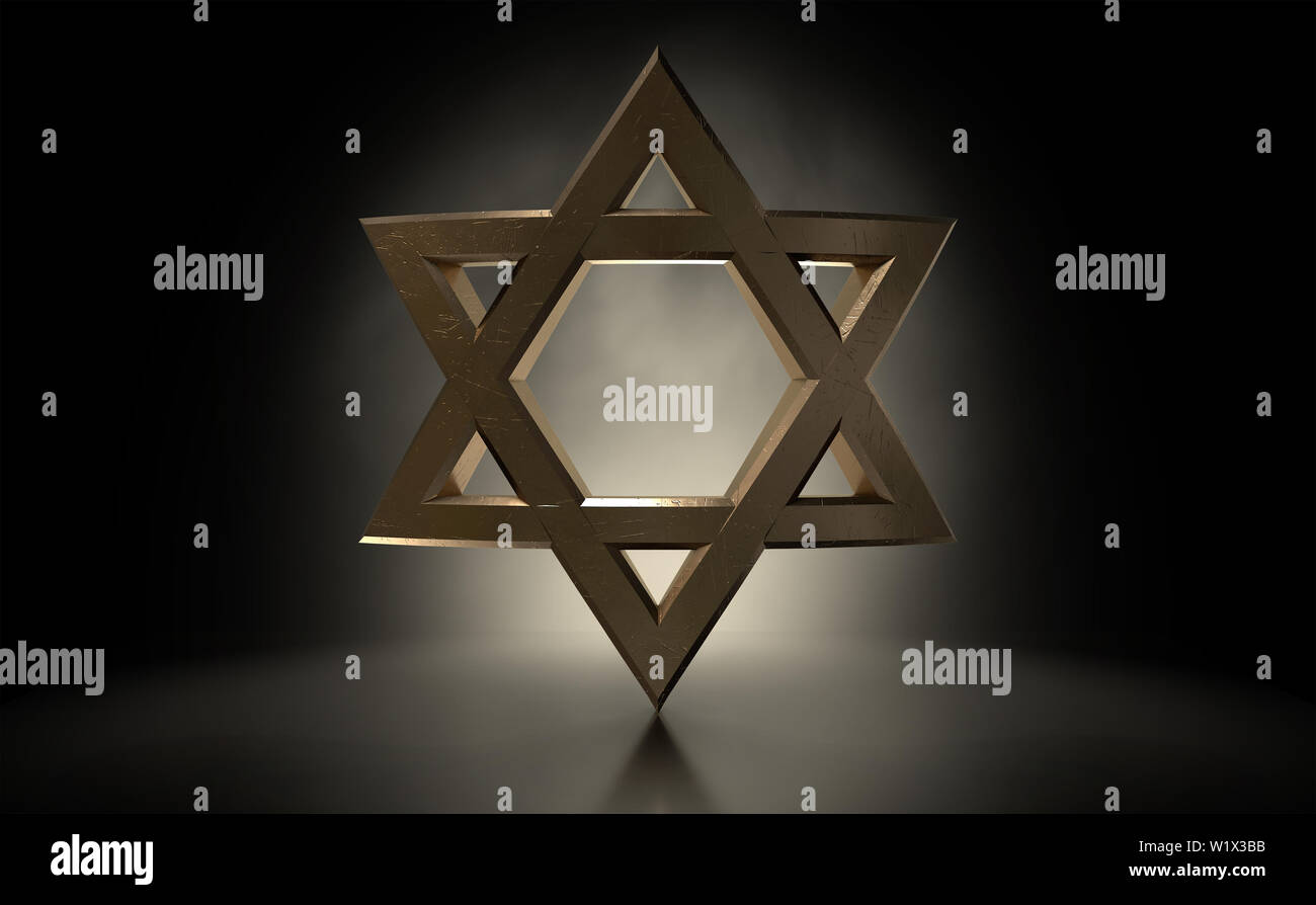 A dramatically backlit gold casting of the star of david on a dark background - 3D render - Stock Image