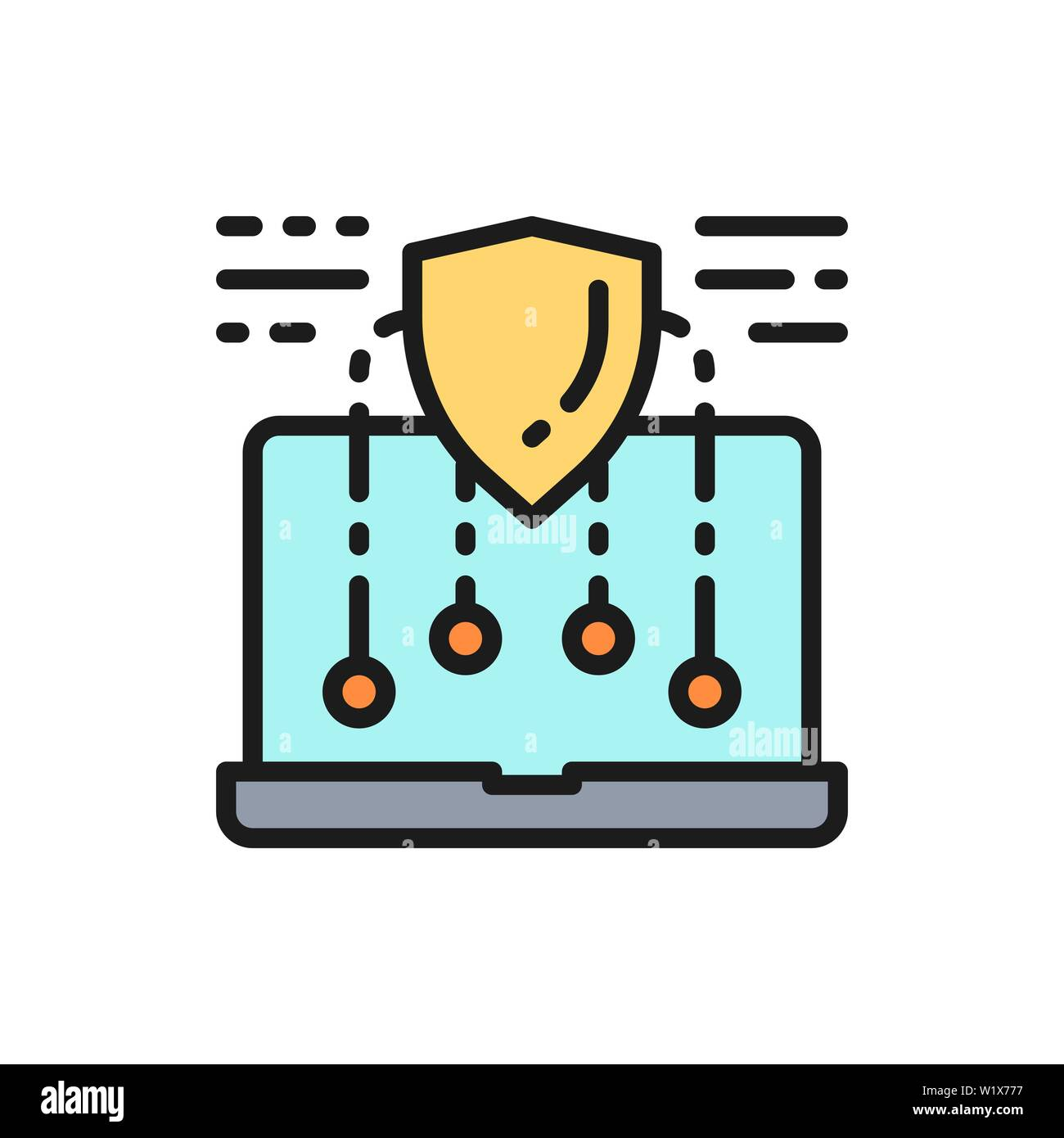 Vector security laptop, safe computer, web protect, device protection flat color line icon. Stock Vector