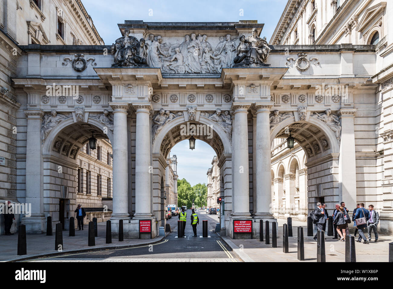 London, UK - May 15, 2019: Arch in King Charles Street besides Foreign and Commonwealth Office Stock Photo