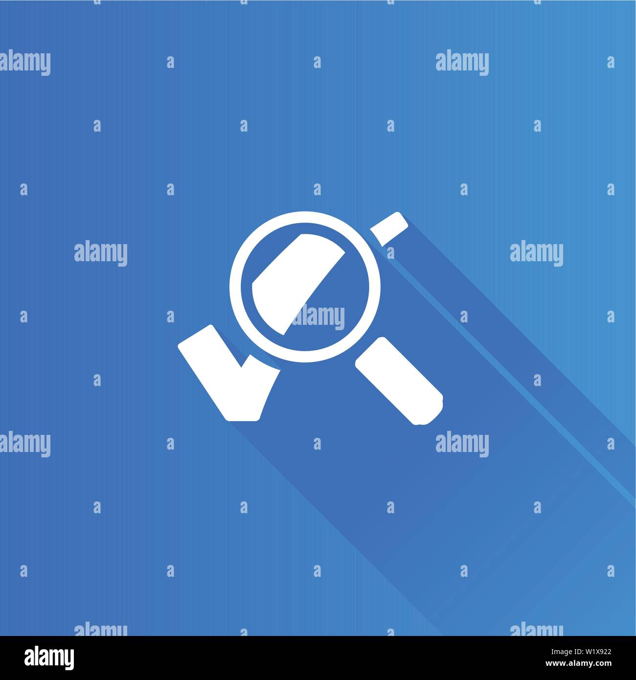Magnifier check mark icon in Metro user interface color style. Zoom find locate - Stock Image